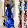 S-5XL Sling Retro Leaf Print Dress Sexy Spaghetti Sling V-neck Long Dress Female Summer Big Swing Beach Dresses Party Vestido 1