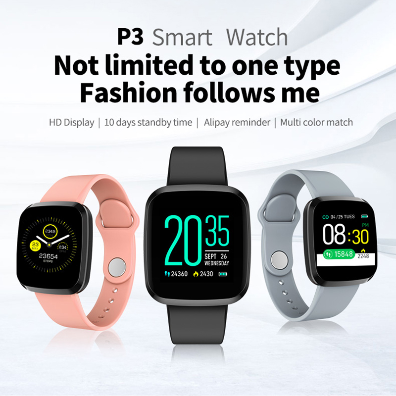 <font><b>P3</b></font> <font><b>Smart</b></font> <font><b>Watch</b></font> Men Blood Pressure IP67 Waterproof Smartwatch Women Heart Rate Monitor Fitness Tracker <font><b>Watch</b></font> For Android IOS image