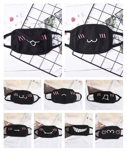 1pcs 32Style Black Unisex Cartoon Mask Funny Teeth Letter Mouth Cotton Anti-bacterial Dust Winter Warm Cute Mask Half Mouth Mask