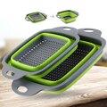 Складная корзина для мытья фруктов и овощей  ситечко  Portabl  силиконовый дуршлаг  Складная Сушилка с ручкой  кухонные инструменты
