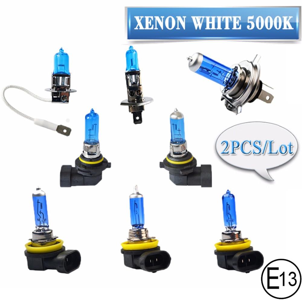 Super White Halogeenlamp 2 Stuks H1 H3 H4 H7 H8 H9 H11 9005 HB3 9006 HB4 12V 55W 100W 5000K Quartz Glas Auto Koplamp Lamp