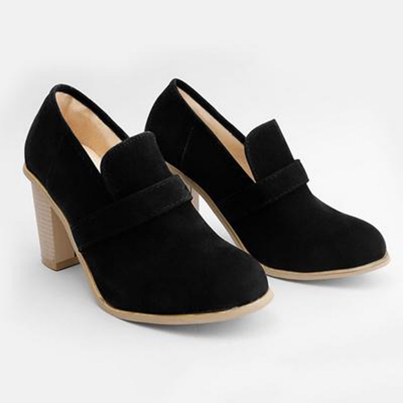 Fashion Casual Round Toe Ladies Vintage High Chunky Heels Shallow Female Shoes Autumn New Solid Women Pumps High Street 2019