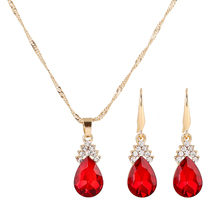 2 Pcs/set Necklace And Earring Charms Indian Jewelry Set Luxurious Crystal Necklace Wedding Jewelry