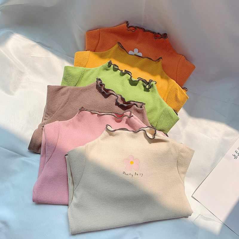Модная детская футболка для девочек; Повседневная универсальная хлопковая Футболка с высоким воротником и длинными рукавами с цветочным принтом