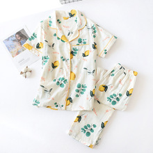Fresh Short Sleeve Summer Pyjamas Women 100% Gauze Cotton Sleepwear Women Casual Korea Pajamas Sets Women Homewear New Sale