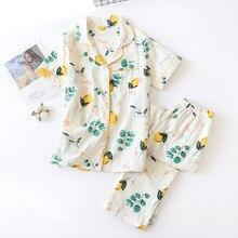 Taze kısa kollu yaz pijama kadın % 100% gazlı bez pamuk pijama kadın rahat kore pijama setleri kadın ev tekstili yeni satış