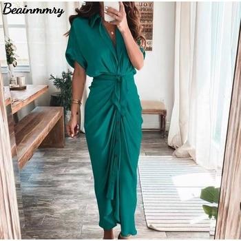Women Summer Elegant Button Ruched Bandage Shirt Dress Fashion Casual Short Sleeve Solid V Neck Beach Maxi Dress 1