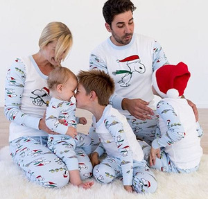 family matching clothes suit 2020 autumn and winter Christmas Snoopy print parent-child for mom dad and children family look