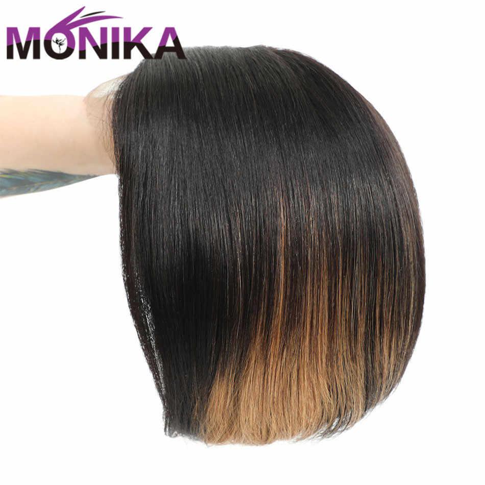 Monika U część peruka # T1BS27 Ombre brazylijski peruka z naturalnych krótkich włosów Remy włosy prosto Bobo koronkowa peruka 150% gęstość Perruqu damska peruka