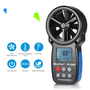 866BDigital Anemometer Handheld Wind Speed Meter for Measuring Wind Speed,Temperature and Wind Chill with Backlight and Max/Min gm8902 wind speed meter air flow tester air temperature meter portable handheld anemometer with usb interface hot selling