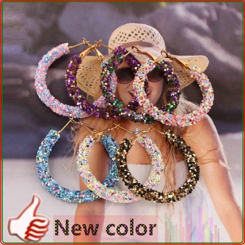 Xujiafu 2020 New Resin Earrings Woman Flash Hoops Earrings For Women Hoop Earrings Fashion Wedding Party Hot Sale Jewelry Gift