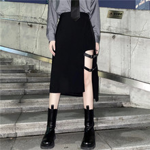 Ins Korean Clothes Black Streetwear Ulzzang Cool Women's Clothing Asymmetric Hipster Fashion Brand Ladies Skirts Autumn Style(China)