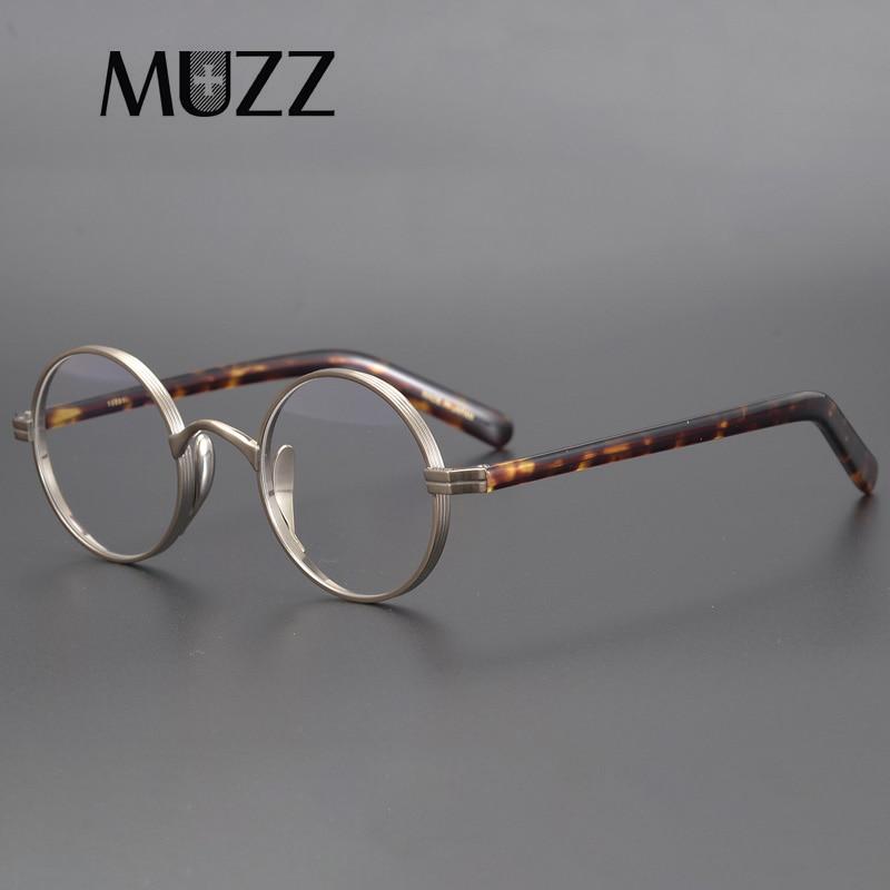 Gafas montura redonda de titanio para hombre y mujer, gafas de lujo japonesas graduadas para miopía, marco de acetato óptico para gafas, gafas pequeñas Vintage