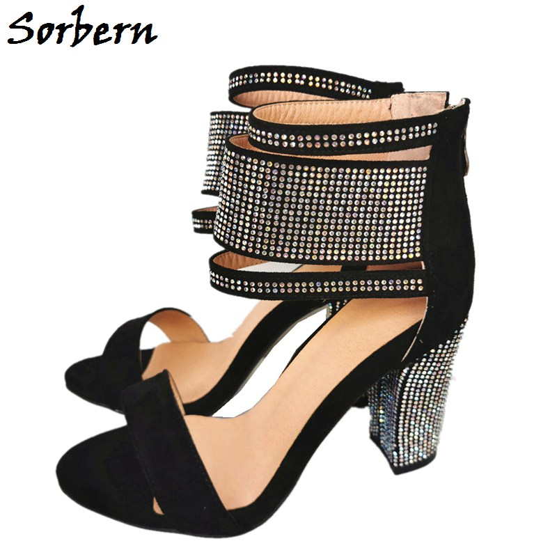 Sorbern Colorful Crystal Block Heels Women Sandals Wide Ankle Strap Summer Shoes Chunky High Heel Shoes Back Zippers Sandalias