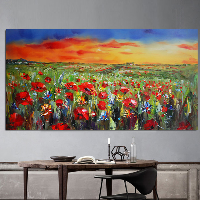 Wild Flowers Poppies Landscape Oil Painting Printed on Canvas 4