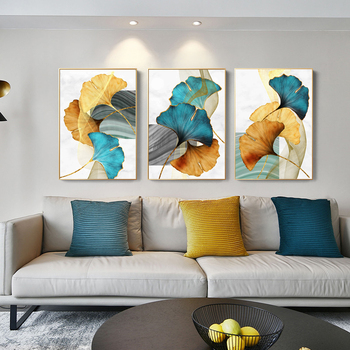 3 Panels Gold Green Leaves Nordic Wall Art Prints Cuadros Decorativos Posters and Prints Cheap Dropshipping Home Decor Pictures image