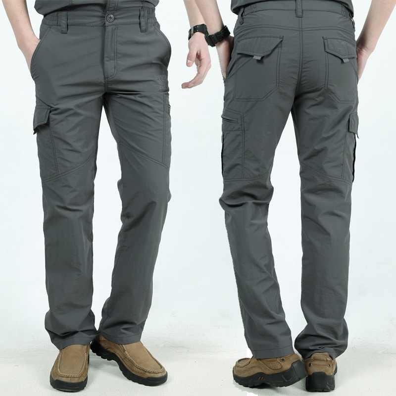 Kilka kieszeni spodnie Cargo mężczyźni pracy oddychające szybkie pranie armia męskie spodnie w stylu casual, letnia jesień luźne taktyczna wojskowa spodnie męskie