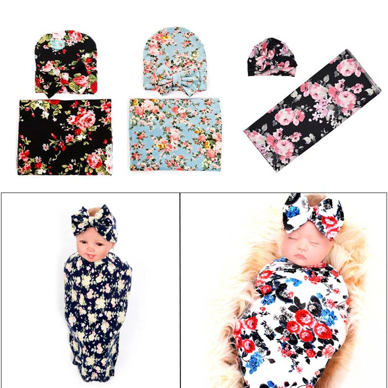 Baby Wrapping Cloth Newborn Rabbit Ear Cap Towel Set Printing Package Swaddle Blanket Hat Bathing Photo Gifts