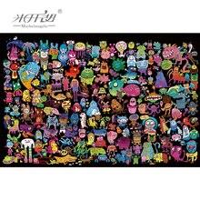 Rompecabezas de madera de michelángel, 500 1000 1500 piezas, juguete educativo con diseño de monstruos de dibujos animados de animales para chico, pintura para pared, decoración del hogar
