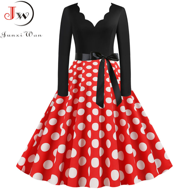 Fashion Christmas Dress Women Vintage Winter Polka Dot Print Long Sleeve Casual Elegant Party Dress Plus Size S~3XL Robe Femme