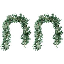 Lber 6.5-pé artificial eucalipto guirlanda e 6-pé salgueiro videira ramos folha guirlanda corda porta verde guirlanda interior e ou
