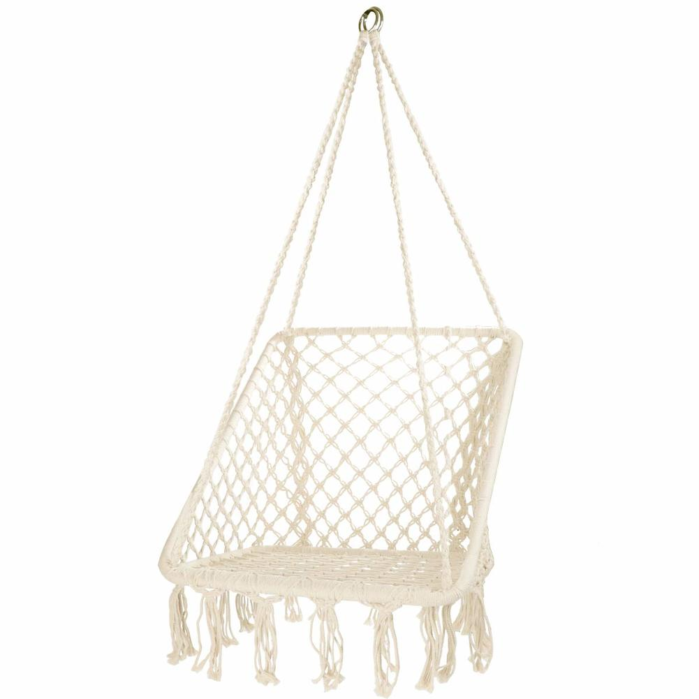 Hanging Hammock Chair Macrame Swing Handmade Cotton Rope Swing Chair Square Garden Chairs For Indoor & Outdoor Patio Furniture