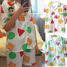 Pijamas de manga curta conjunto para pijamas de algodão feminino 2 pçs pijamas de pijamas de dormir shinchan bonito impressão homewear verão lounge pijamas