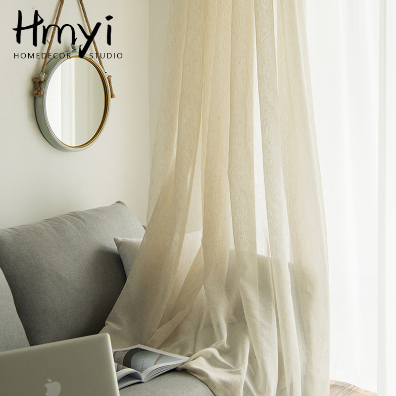 Japanese Style Linen Sheer Curtains For Living Room Bedroom Beige Tulle Curtains For Window Drapes Curtains For Kitchen Blinds