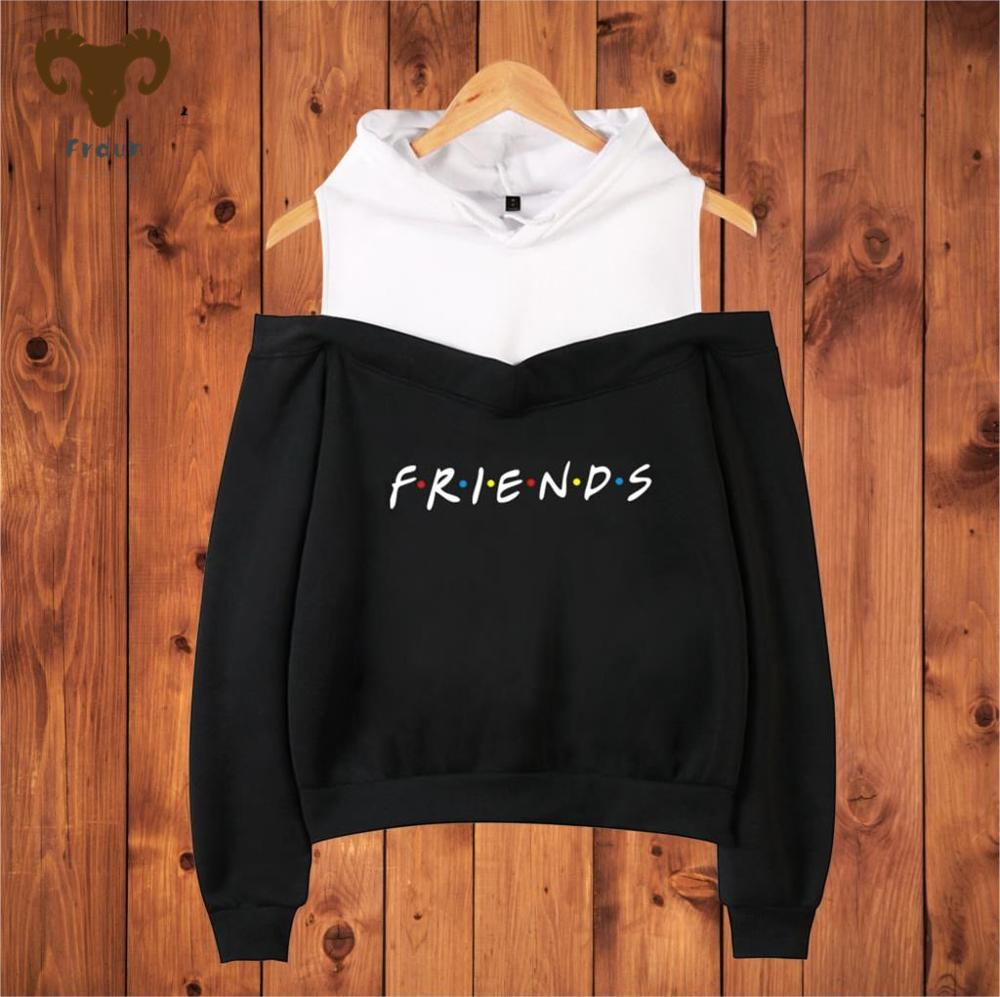 Friends Member Pop Fashion Warm Soft Women Hoodies Sweatshirt Hip Hop Sexy Off Shoulder Hoodie Sweatshirt Women Clothing