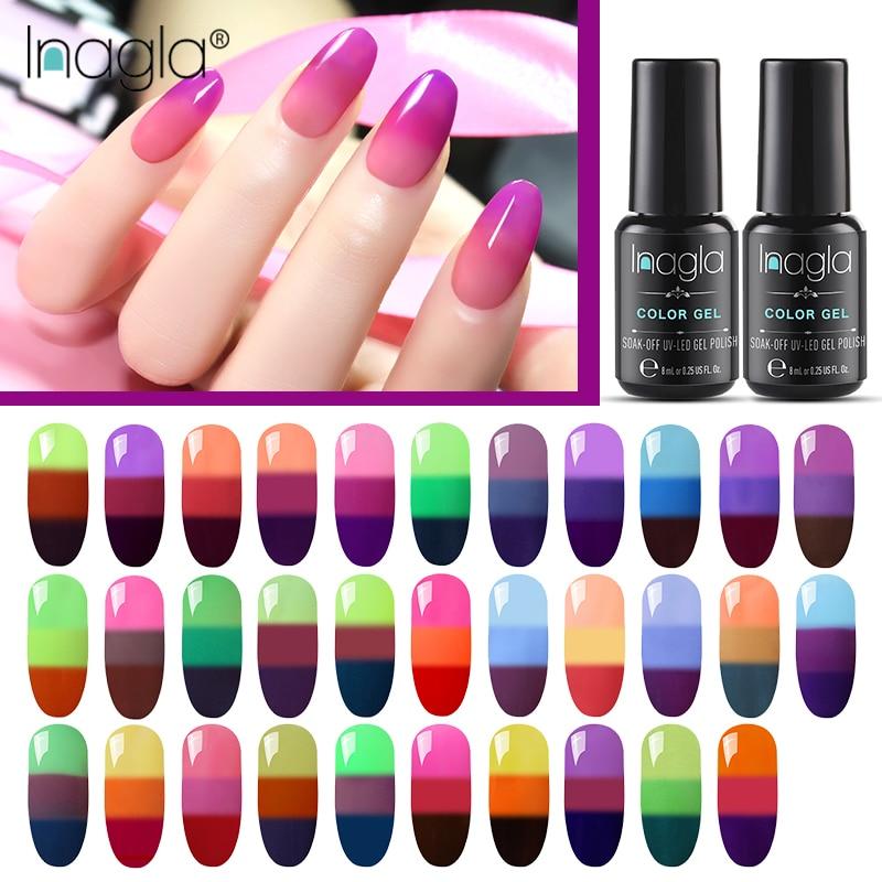 Inagla изменение температуры 3 цвета УФ Гель-лак для ногтей для маникюра термо-гель для ногтей изменение настроения Гибридный лак