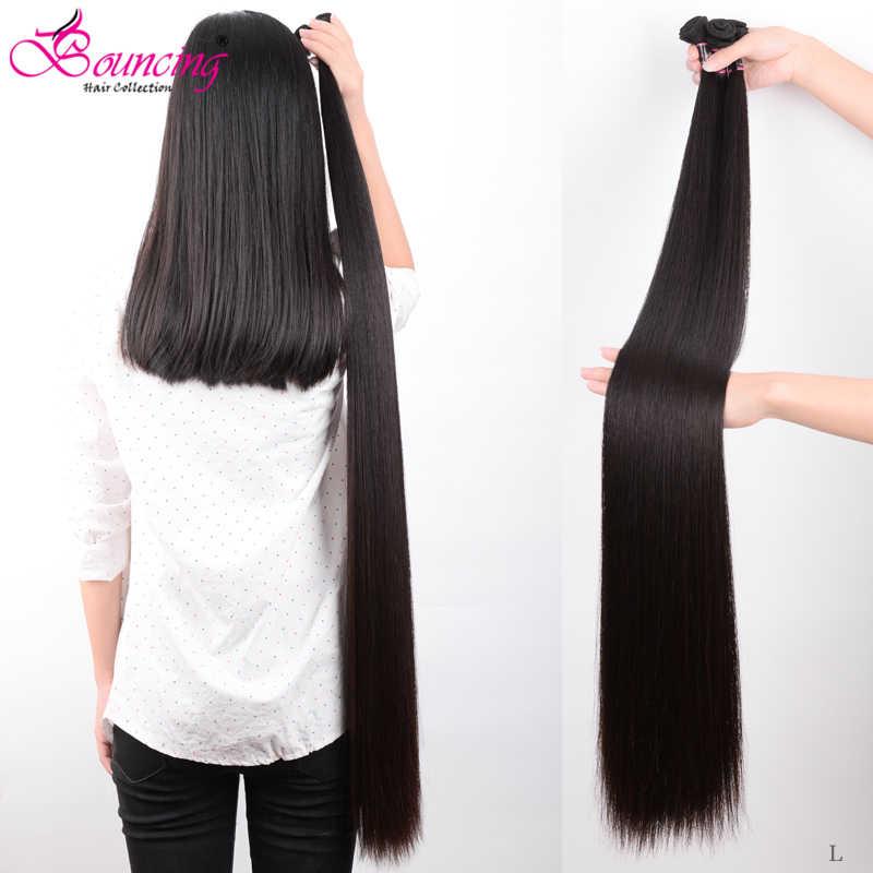 Zıplayan düz insan saçı demetleri brezilyalı saç atkı 34 36 38 40 inç demetleri insan Remy saç doğal siyah saç ekleme