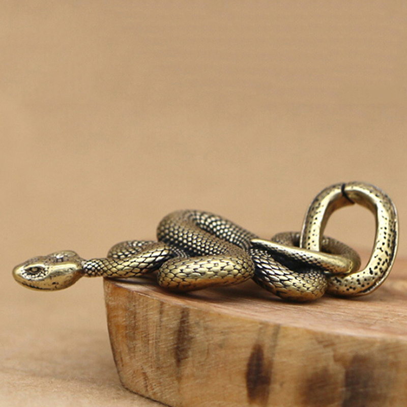 1pc Fashion Brass Metal Snake Shape Keychain Handmade Key Chain Snake Key Ring Handbag Pendant