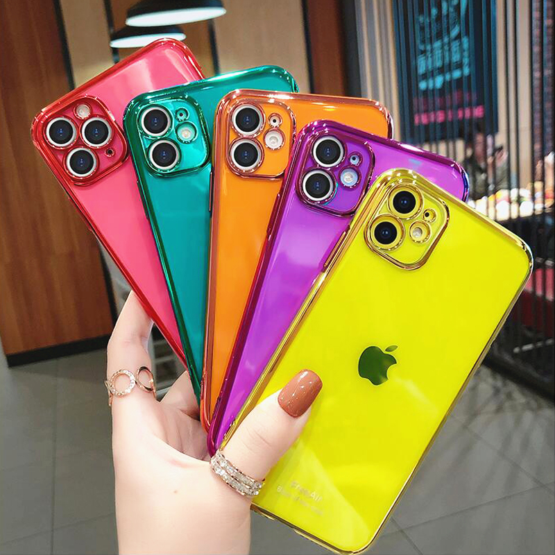 Fluorescent Color plating Transparent Phone Case For iPhone 11 Pro Max X XS XR 7 8 Plus SE Soft TPU Camera Protection Back Cover