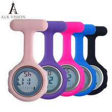 Fob bolso enfermeira relógio de silicone digital enfermeira relógios broche lapela relógio médico presente para enfermagem médico hospital unisex