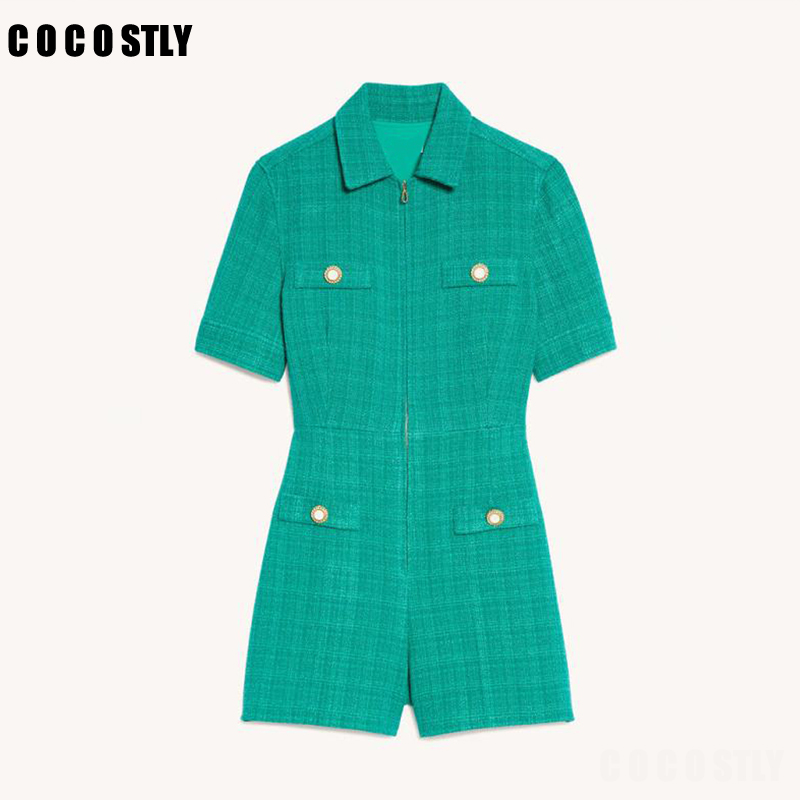 Autumn Women's Tweed Playsuits Short-sleeved Turn-down Collar Zipper Jumpsuit Buttons and Pockets Bodysuit Women Clothing