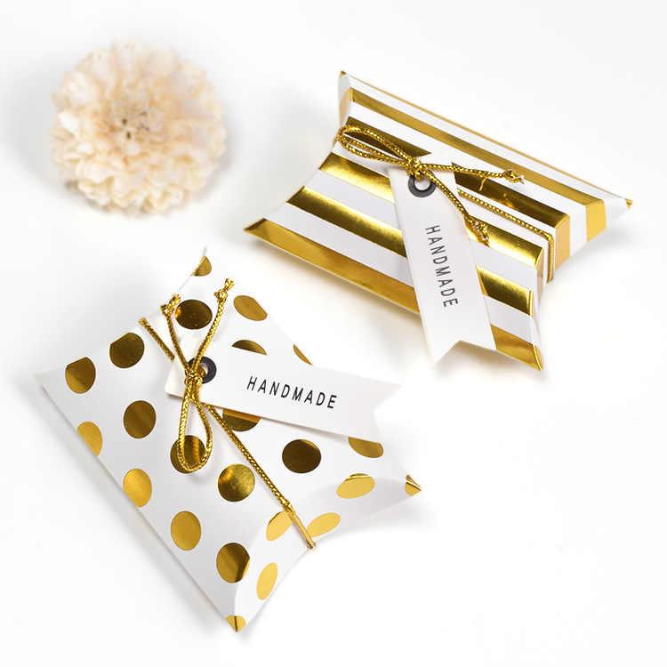 10pcs promozione Cuscino a Forma di monili kraft Contenitore di caramella di carta del mestiere di Cerimonia Nuziale di Favore del Regalo torta Del Partito borse eco-friendly