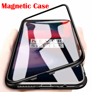 Metal Magnetic Adsorption Glass Case For Oneplus 7 T Pro 6 6T 5T One plus Phone Case Magnet Protective Cover Capa Coque(China)