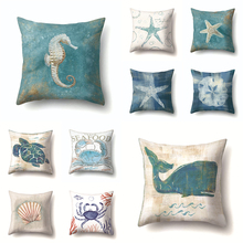 Sea Food Polyester Animals Throw Pillow Cushion Cover 45*45 Home Decoration Sofa Decorative Turtle Pillowcase Crab Pillows