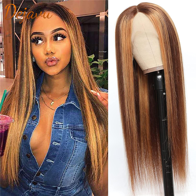 P4/27 прямой парик с эффектом омбре, парик из человеческих волос, парики на шнуровке спереди, предварительно выщипанный парик 1B 27, светлый медо...