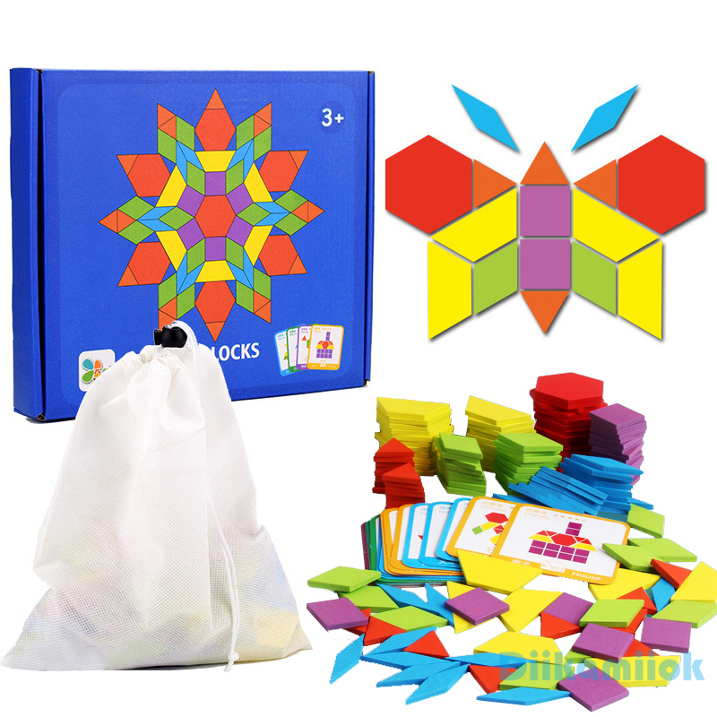 155pcs Wooden Jigsaw Puzzle Colorful Baby Montessori Educational Toys Children Learning Developing Toy Boys Girls Holiday Gifts