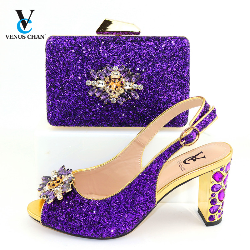 2020 New Design Purple Color Fashion Rhinestone Woman Shoes And Matching Bag Set Nigerian Style Pumps for Party