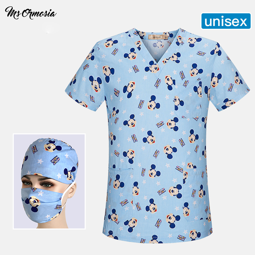 Summer Doctor Scrub Tops Women Men Medical Wear Nurse Uniforms Hospital Clothing Workwear Top Surgical Cap Medical Spa Uniform