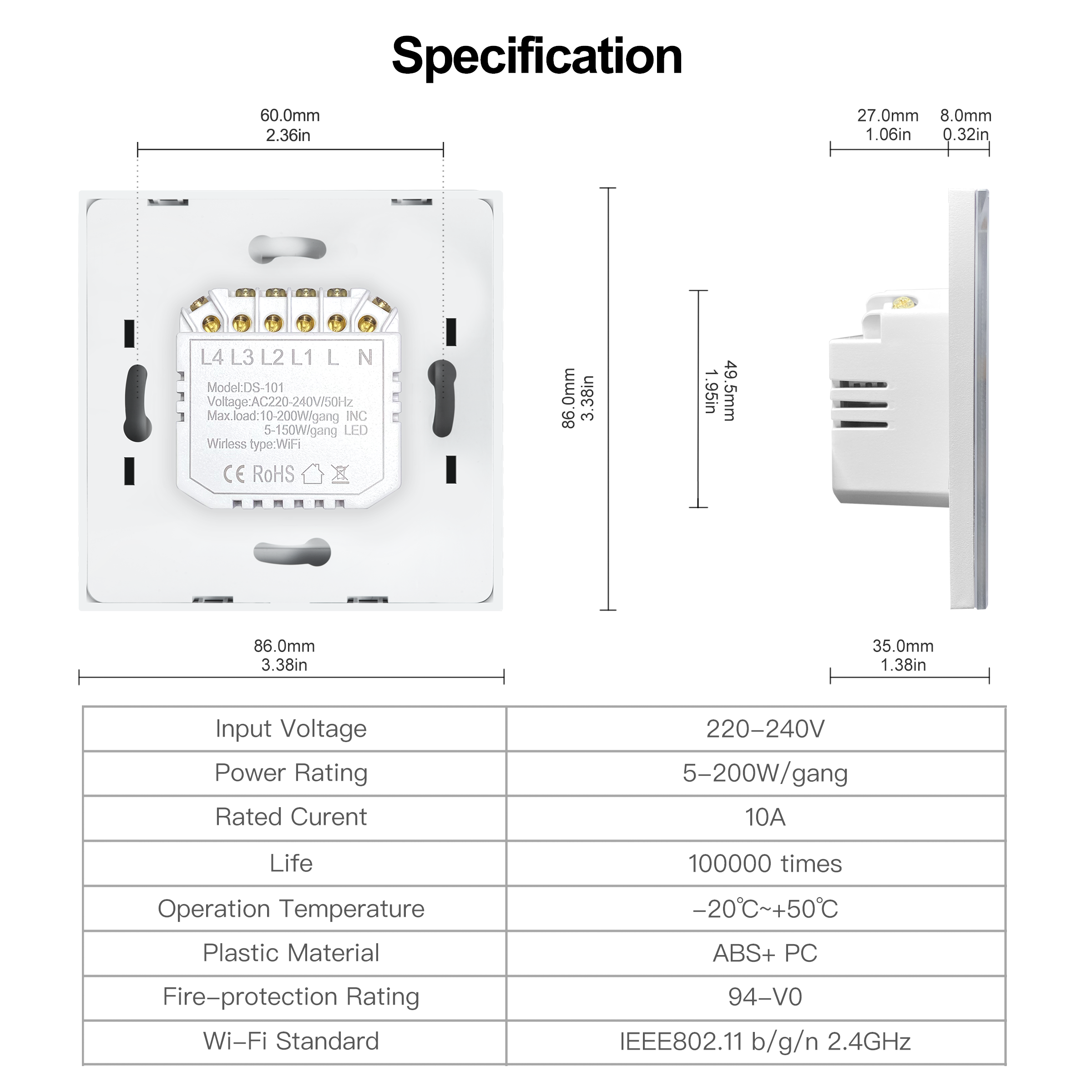 Tuya Smart Wifi Touch Light Switch EU 220V, No Neutral Wire Required Wall Switch 1/2/3/4 Gang, Compatible with Alexa Google Home 6