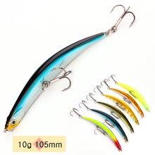 Leurre flottant rigide en forme de poisson, appât artificiel idéal pour la pêche au bar ou au méné, avec hameçon, 105mm, 10g