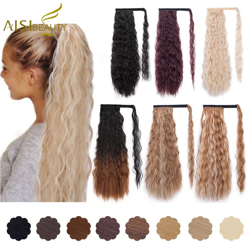 AISI BEAUTY Long Curly Ponytail Natural Wrap On Clip Hair Extensions For Women False Hair Horse Tail Synthetic Hair Piece