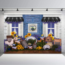 цена на Farmer's Market Backdrop Sunflower Blue Store Children Backgrounds for Photo Studio Newborn Baby Kids Photography Backdrops