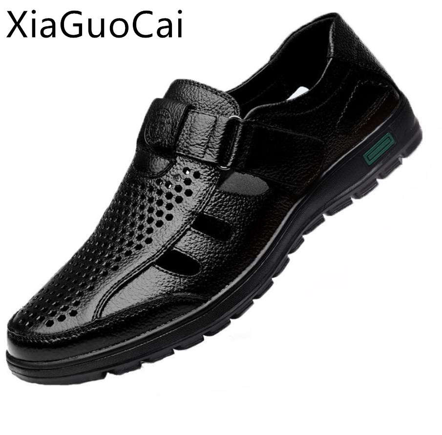 Summer Genuine Leather Mens Sandals Breathable Hollow Out Classic Mens Flat Sandals Solid Rubber Leather Male Casual Sandals