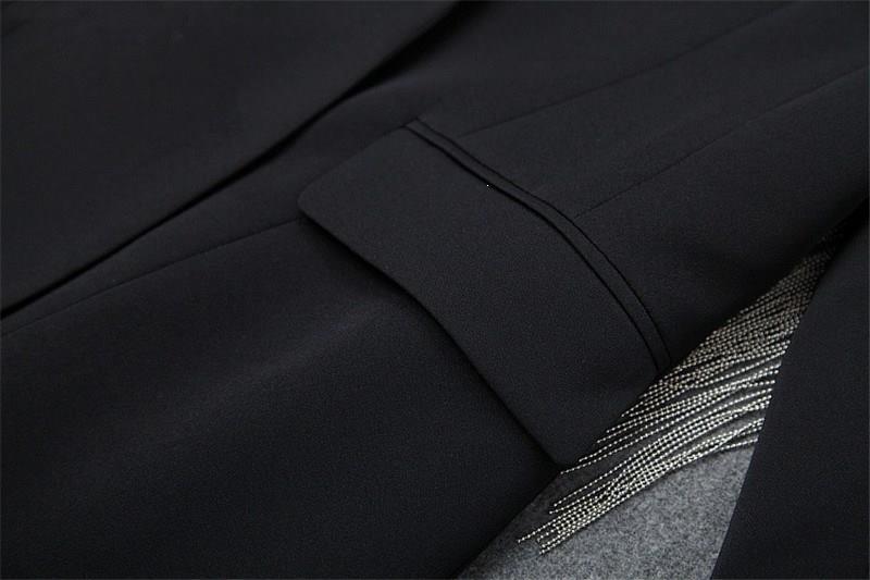 Elegante Büro Zwei Stück Outfits Drehen unten Kragen Herbst Winter Sicken Quaste Kerb Blazer Anzug Shorts Set Ol Twinset - 5