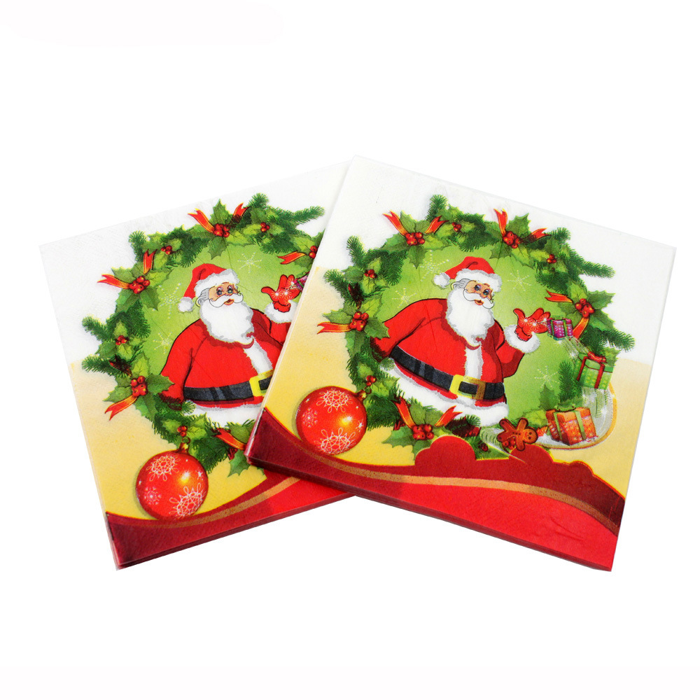 [Currently Available] 2018 Christmas Printed Napkin Party Paper Santa Claus Restaurant Decorations Cross Border Hot Selling