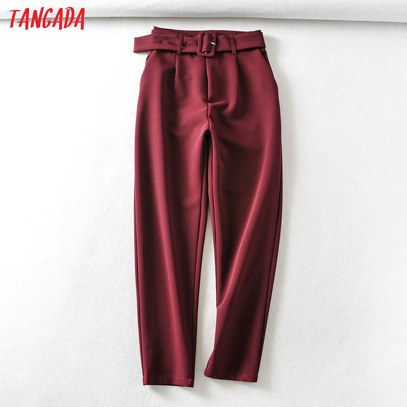 Tangada Fashion Women Wine Red Suit Pants Trousers With Slash Pockets Buttons Office Lady Pants Pantalon 6A341